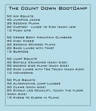 Countdown workout. Boot camp or circuit style training