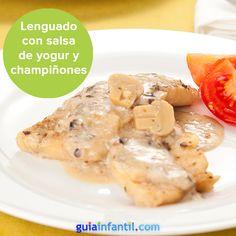 Lenguado a la plancha con salsa de yogur y champiñones, una receta saludable y deliciosa. http://www.guiainfantil.com/recetas/pescados/lenguado/lenguado-suave-a-la-plancha-con-salsa-de-yogur-y-champinones/