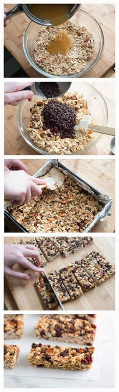My favorite granola bars. I use peanuts if I don't have almonds. DO NOT let the honey mixture boil or the granola bars will be hard. Soft and Chewy Granola Bars Recipe Soft And Chewy Granola Bars Recipe, Homemade Granola Bars, Snacks Homemade, Diy Snacks, Snacks Ideas, Healthy Bars, Healthy Snacks, Fruit Snacks, Fruit Appetizers