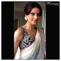 Gorgeous White saree paired with a beautiful blue blouse by #Bipasha