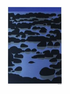 'Kawaroa' by Michael Smither. A reef near New Plymouth, NZ. Screenprint of Kawaroa Stage New Zealand Landscape, New Zealand Art, Contemporary Artwork, Plymouth, Decoration, New Art, Screen Printing, Beaches, Stage