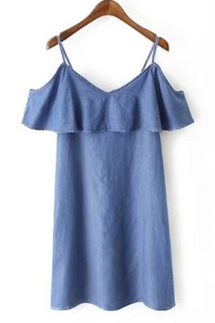Women\'s Stylish Spaghetti Strap Denim Dress