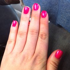 neon barbie pink nails color used gelish   make you