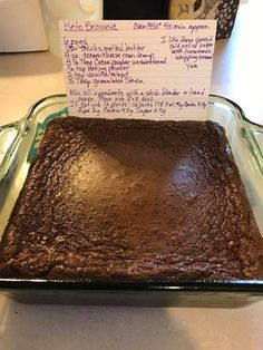 Delicious Keto brownie. 2/10 Baked for 35 minutes. Separated into an egg layer and chocolate layer. Weird but tasty low carb treat.