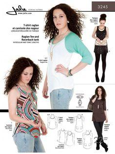 Jalie 3245 - Raglan Tee, Racerback Tank and Tunics Pattern for Girls and Women