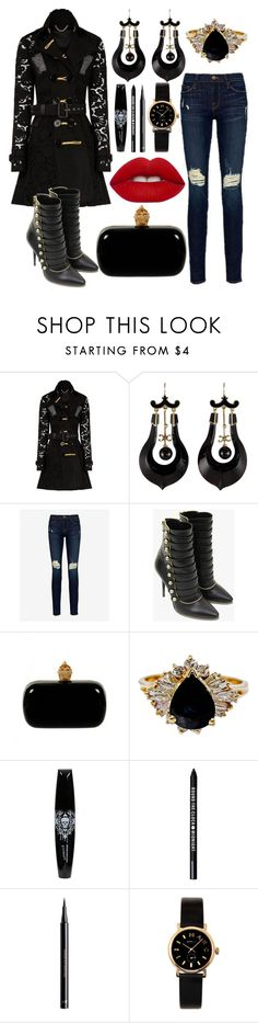 """""""Untitled #168"""" by conformtouskids on Polyvore featuring Burberry, Frame Denim, Balmain, Alexander McQueen, Bare Escentuals, H&M, Marc by Marc Jacobs and Lime Crime"""