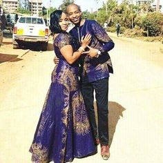 African print dresses for weddings in South african - shweshwe ShweShwe 1 African Prom Dresses, Latest African Fashion Dresses, African Dress, African Style, African Wear, African Traditional Wedding, African Traditional Dresses, Traditional Outfits, Couples African Outfits