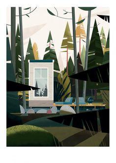 Nido Cabin - Sergeant Paper editions Giclee print sur papier Hahnemulhe German Etching 310 gr | 50x70 cm | Edition limitée à 30 ex - 90€