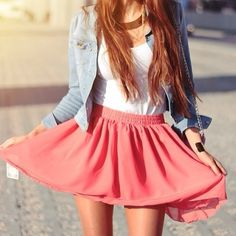 I'd love to be able to pull this off! Spring Outfit - Coral Skirt - White Top - Jean Button Up