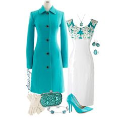 """White and Turquoise for Winter"" by stardustnf on Polyvore"