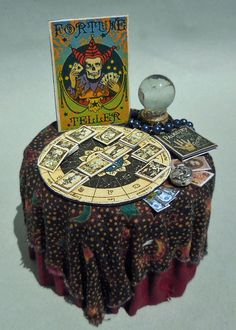 DOLLHOUSE MINIATURE~ FORTUNE TELLER'S TABLE HANDCRAFTED by LORRAINE SCUDERI