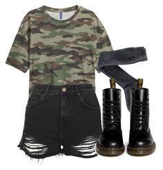 """""""camo"""" by feathersandroses ❤ liked on Polyvore featuring Topshop, H&M and Dr. Martens"""