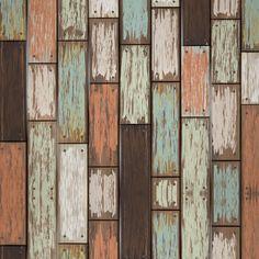 Papel de Parede Autocolante madeira antiga colorida 236350894