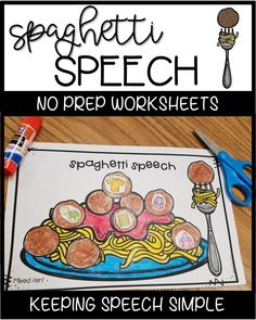 These No Prep articulation activities are perfect for mixed groups. Students will love the spaghetti and meatball theme and you will love that you can just print and go.  All sounds are picture supported. If you have parents looking for ways to reinforce skills at home, send these as homework. These activities can be done with your preschool and early elementary students. This product targets fourteen sounds. Most sounds include all word positions. #speechtherapy