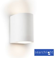 For the alcove shelves in lounge  (Searchlight Halogen Wall Washer Light, White Plaster - 8436)