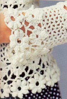 Japanese Crochet Women Flower Trim Cardigan Top For by DotsStripes Gilet Crochet, Crochet Cardigan Pattern, Crochet Jacket, Crochet Blouse, Crochet Art, Crochet Woman, Easy Crochet, Japanese Crochet, Summer Patterns