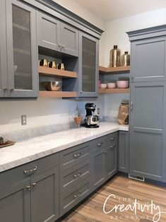 wohnen und Küche Pantry Cabinetry paint color is Benjamin Moore Trout Gray The Modern Watches and Pr Refacing Kitchen Cabinets, Kitchen Cabinet Colors, Built In Cabinets, Painting Kitchen Cabinets, Kitchen Counters, Soapstone Kitchen, Gray Cabinets, Kitchen Islands, Dark Grey Kitchen Cabinets
