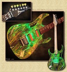 Steve Vai 20th Anniversary JEM 77V Guitar with clear acrylic and a 3-D interior design that can actually be illuminated by internal green LEDs!!! Schaweet!! ;D