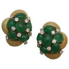 David Webb Emerald Diamond Gold Earclips | From a unique collection of vintage clip-on earrings at https://www.1stdibs.com/jewelry/earrings/clip-on-earrings/