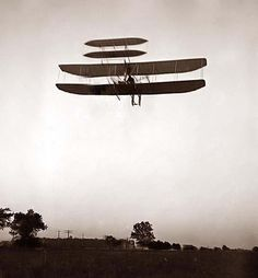 picture of Left front view of flight 46, from 1905; Huffman Prairie, Dayton, Ohio.   Wright, Orville, 1871-1948. Airplanes.
