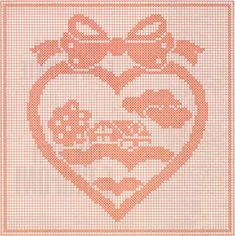 Professione Donna: Schemi per il filet: Un cuore con il fiocco per il cuscino