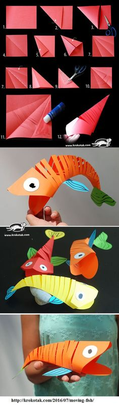 Moving Paper Fish: One Fish, Two Fish, Red Fish, Blue Fish! Moving Paper Fish: One Fish, Two … Paper Crafts For Kids, Preschool Crafts, Projects For Kids, Diy For Kids, Fish Crafts Kids, Fish Paper Craft, Sea Crafts, Children Crafts, Animal Crafts Kids