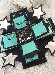 Happy Birthday Explosion Photo Box, Birthday Photo box, gift for him, Surprise Memory Box, Photo Alb Birthday Card Pop Up, Birthday Box, Birthday Photos, Birthday Presents, Happy Birthday, Surprise Birthday, Birthday Ideas, Memories Box, Diy Gift Box