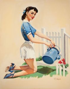 (TED) KUCK (American, d. Pin-Up Gardening, Brown & Bigelow calendar illustration Oil on canvas - Available at 2014 May 7 Illustration Art. Pin Up Girl Vintage, Vintage Clip, Vintage Pins, Vintage Art, Earl Moran, Pin Up Posters, Pin Up Photos, Calendar Girls, Gil Elvgren