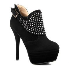 Sexy Rhinestones and Buckle Design Ankle Boots For Women