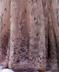 Skirt Detail-Great Britain, UK , Designer Bill Gibb, born Date: 1974 Materials and Techniques: Moiré taffeta silk, trimmed with lace, beading and embroidery, embroidered tulle skirt Given by Mrs Sandi Lacey