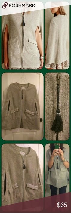 """⭐LOWEST⭐🆕Anthropologie✨Whimbrel Cape Purchased BRAND NEW and it's lovely! Warm, soft, and a perfect addition to any outfit. You have full use of your arms too! Love the deep pockets! Very flattering and cozy! 💕  Saturday/Sunday by Anthropology focuses on basics that make the weekend cozier and simpler. Look no further than this fuzzy, tasseled cape for a warm and stylish cover-up.""""  By Saturday/Sunday Two exterior pockets Polyester Machine wash cold 30""""L  Discounted $15 to cover…"""