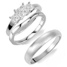 Princess Cut Traditional 3 Stone His & Hers Bridal Trio Wedding Ring Set in SOLID 14K White Gold