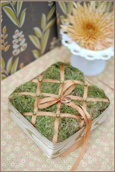 DIY Tufted Moss Ring Pillow gonna attempt to make this for my wedding Spring Wedding, Diy Wedding, Rustic Wedding, Wedding Flowers, Wedding Ideas, Wedding Colors, Wedding Gowns, Wedding Rings, Ring Bearer Pillows