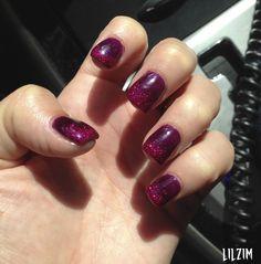 Dark Purple with Hot Pink Glitter Tips