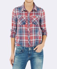 Loving this Light Red & Blue Plaid Button-Up on #zulily! #zulilyfinds
