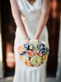 Periwinkle & peach bouquet