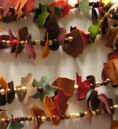 "Felt leaves & wooden beads garland - from the American Felt and Craft Blog ("",)"