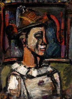 """Georges Roualt (1871 - 1958), """"Profil de clown,"""" oil on paper maroufle on canvas, 1938-1939."""