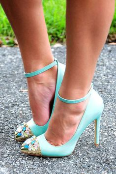 Share to save 10% on  your order instantly!  Pretty Little Jewels Heels: Tiffany Blue