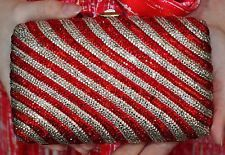 Judith Leiber SWAROVSKI CRYSTAL RUBY RED CANDY CANE STRIPES Clutch Shoulder Bag