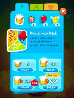 CUT the ROPE 2 | IAP Store Gameplay Purchases | UI, HUD, User Interface, Game Art, GUI, iOS, Apps, Games, Grahic Desgin, Puzzle Game, Brain Games, Zeptolab | www.girlvsgui.com
