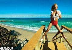 Hayden Panettiere in Glamour, May 2013. Shirt, Lands' End; bikini bottoms, Chucs; necklace, Monica Rich Kosann; wedges, Robert Clergerie. Photo: Peggy Sirota/Fashion editor: Maggie Mann