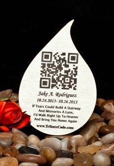 Tribute Code Plaque- Tear Drop. Place at resting site or memorial of loved one. Scan QR Code and be directed to the online memorial page for your departed loved ones that include photos, videos, music, bio and much more.   www.tributecode.com