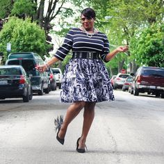 Taylor Dresses Fit & Flare Dress in Stripes and Floral on @totallytot3