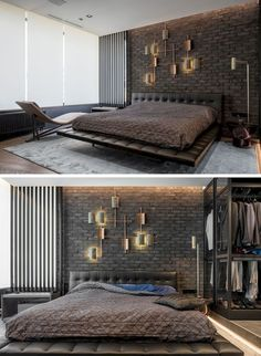 In this modern and masculine bedroom, a dark brick accent wall becomes a backdrop for a lighting sculpture. teenage This Modern And Masculine Apartment Has A Smart Glass Wall That Can Hide The Bedroom From View Luxury Bedroom Design, Master Bedroom Design, Master Suite, Industrial Bedroom Design, Bedroom Apartment, Home Decor Bedroom, Bedroom Ideas, Bedroom Furniture, Apartment View
