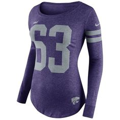Women's Nike Kansas State Wildcats Stadium Tee (61 AUD) ❤ liked on Polyvore featuring tops, t-shirts, purple, blue long sleeve t shirt, graphic tees, blue t shirt, long sleeve scoop neck tee and striped long sleeve t shirt