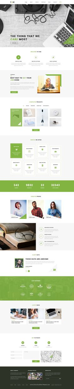 Buy FAM - A Template For Creative Agency by Storm_and_Rain on ThemeForest. FAM is a clean, modern, stylish psd template for creative agency. It will be best choice for small business, agency . Website Design Inspiration, Best Website Design, Website Designs, Website Ideas, Website Web, Website Layout, Web Layout, Layout Design, Page Design