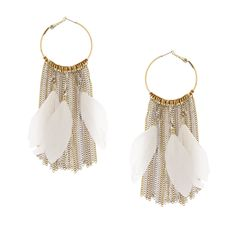Antique Silver and Gold Chain Fringe Hoop Earrings with Ivory Feathers