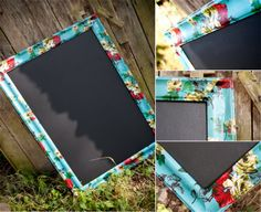 I just went and bought a cheap plastic frame that was poster board size and removed everything besides the frame and took my fabric that I found at JoAnn's and cut it into strips and Mod Podge it to the plastic frame.  And then took the frame backing and painted some chalkboard paint over it then sanded it.