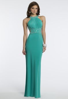 Camille La Vie Jersey Halter Dress for Prom in Jade with Cleo Collar